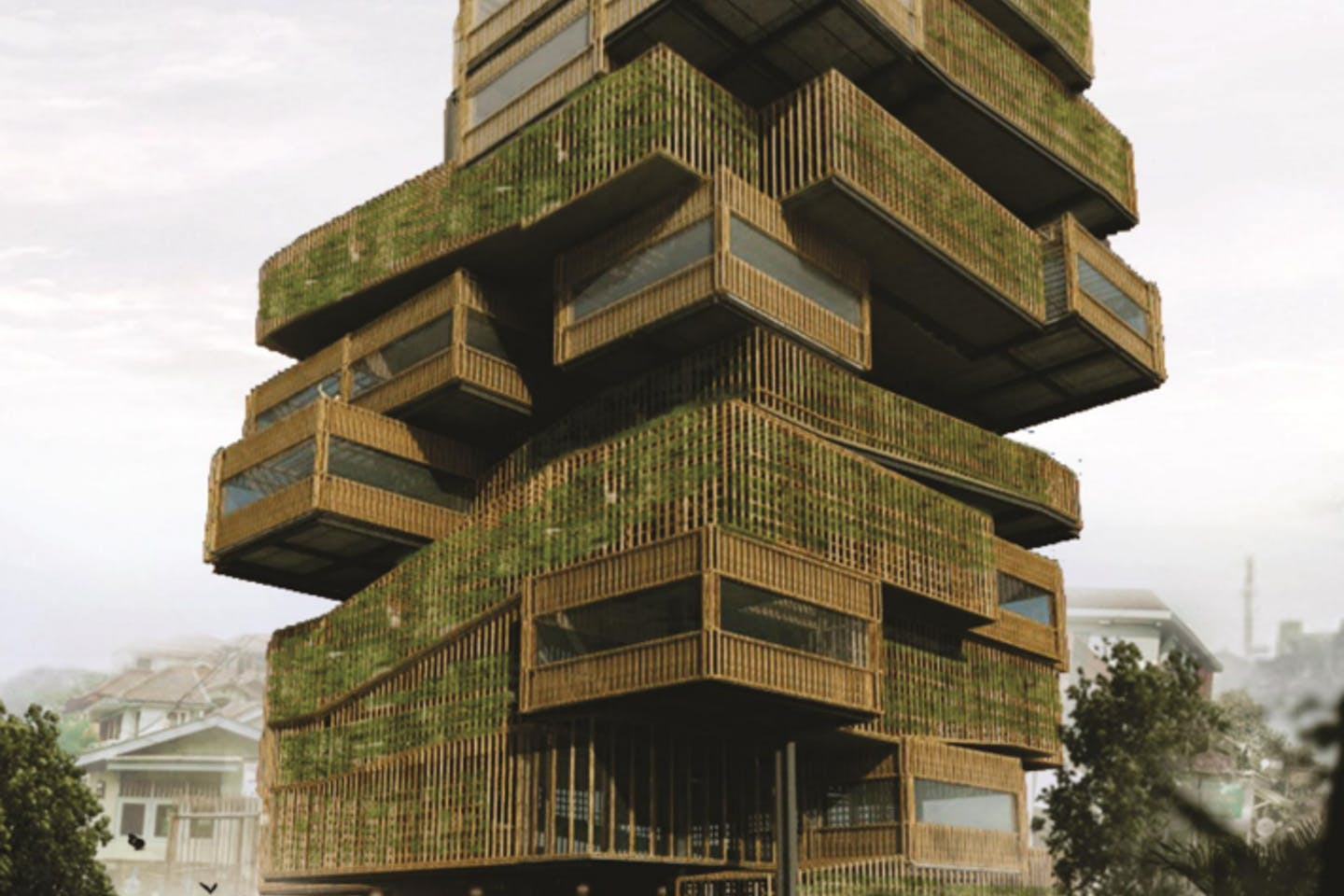 The winner of the International Tropical Architecture Design Competition, Vertical Farm Acupunture, by Ridwan Arifin and his team. The 11-storey building in Bandung has facilities for hydroponic farming and water harvesting. Image: ITAD