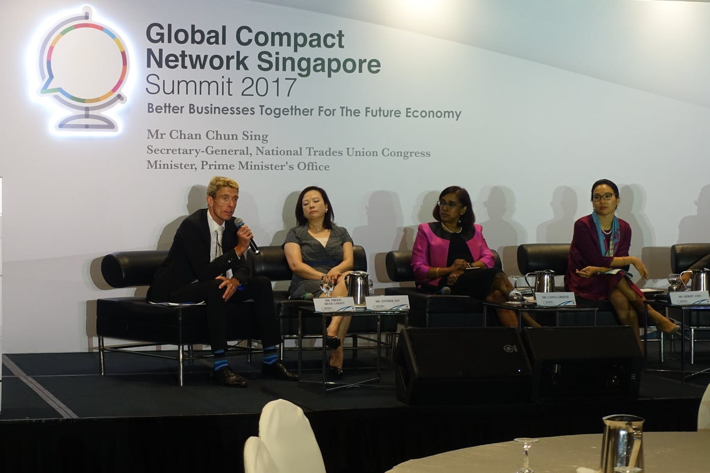 DBS's co-chair of sustainability council Mikkel Bilyk Larsen addresses the audience at Global Compact Network Singapore event