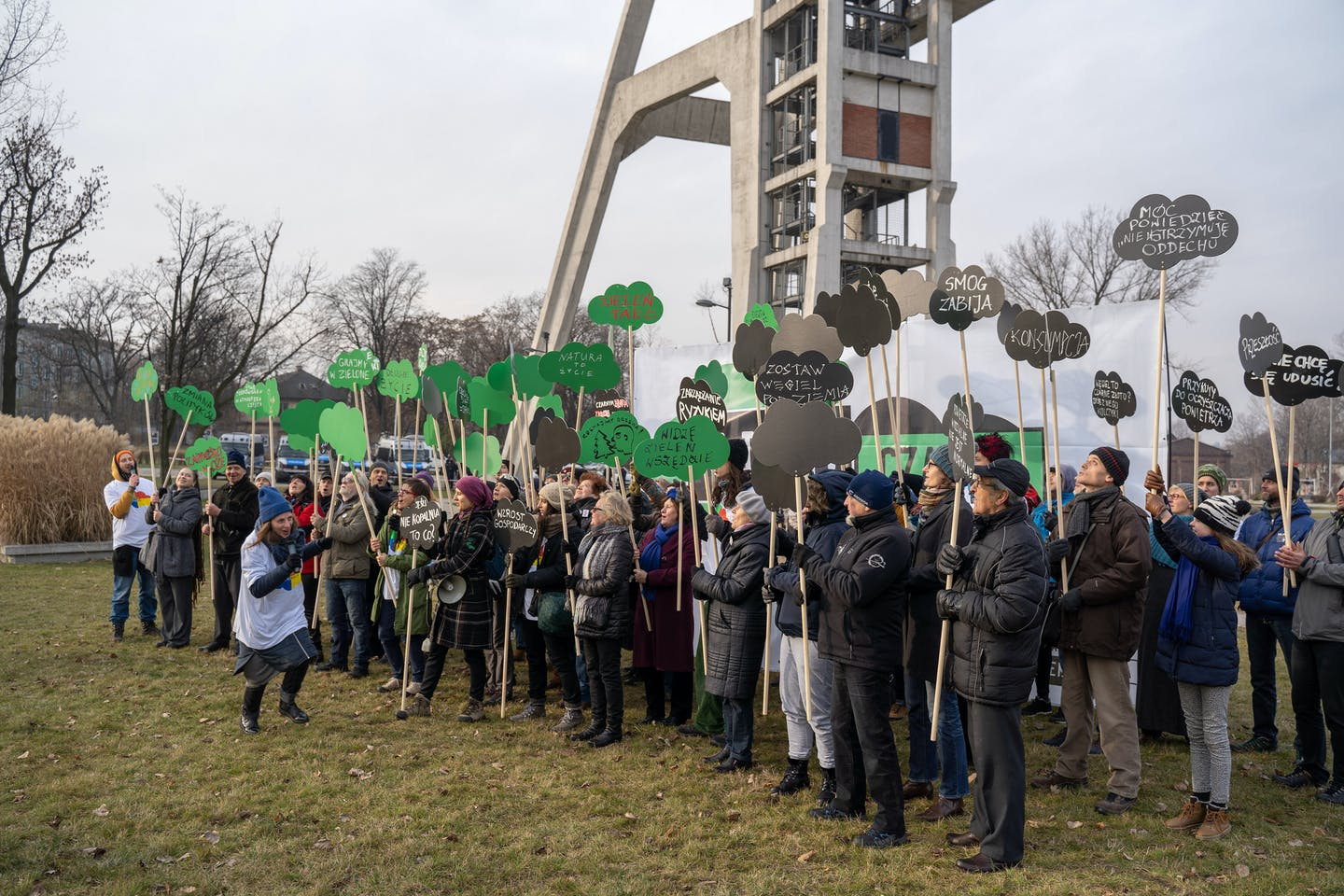 In connection with the beginning of the COP24 UN climate summit, activists of the Democracy Action campaign demonstrated in Chorzów.